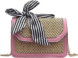 Wultia - Women Straw Shoulder Bag Small Flap Crossbody sac Woven Bag Female Retro Beach Bolsos Rattan Bag Chain Wicker Bolsa Feminina #G8 Pink