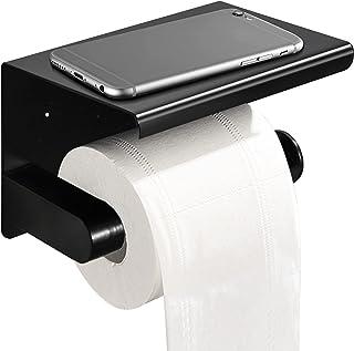 Husmeu Porte Papier Toilette sans Percage en Acier Inoxyable Support Papier Toilette Mural Colle Auto-Adhésif pour Salle d...