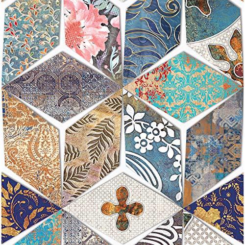 HaokHome 96051 Vintage Peel and Stick - Papel pintado geométrico para decoración de cocina, baño, 45 x 299 cm