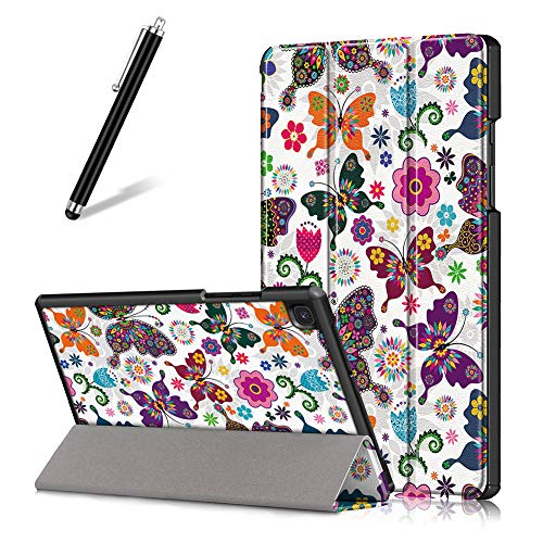 Artfeel Hülle für Samsung Galaxy Tab A7 2020 10.4 T500/T505/T507,Ultra Dünn Leicht PU Leder Tasche Schutzhülle Schlank Flip Folio Dreifach Ständer Tablet Hülle,Schmetterling