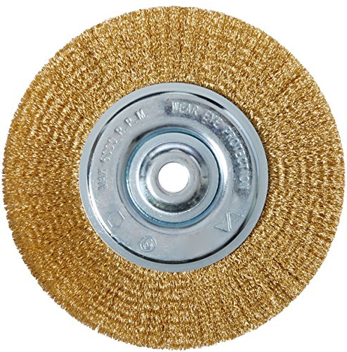 Vermont American 16802 6-Inch Fine Brass Wire Wheel with Arbor