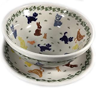Polish Pottery Cereal Bowl and Plate On the Farm Cat Dog Chicken Duck Bunny