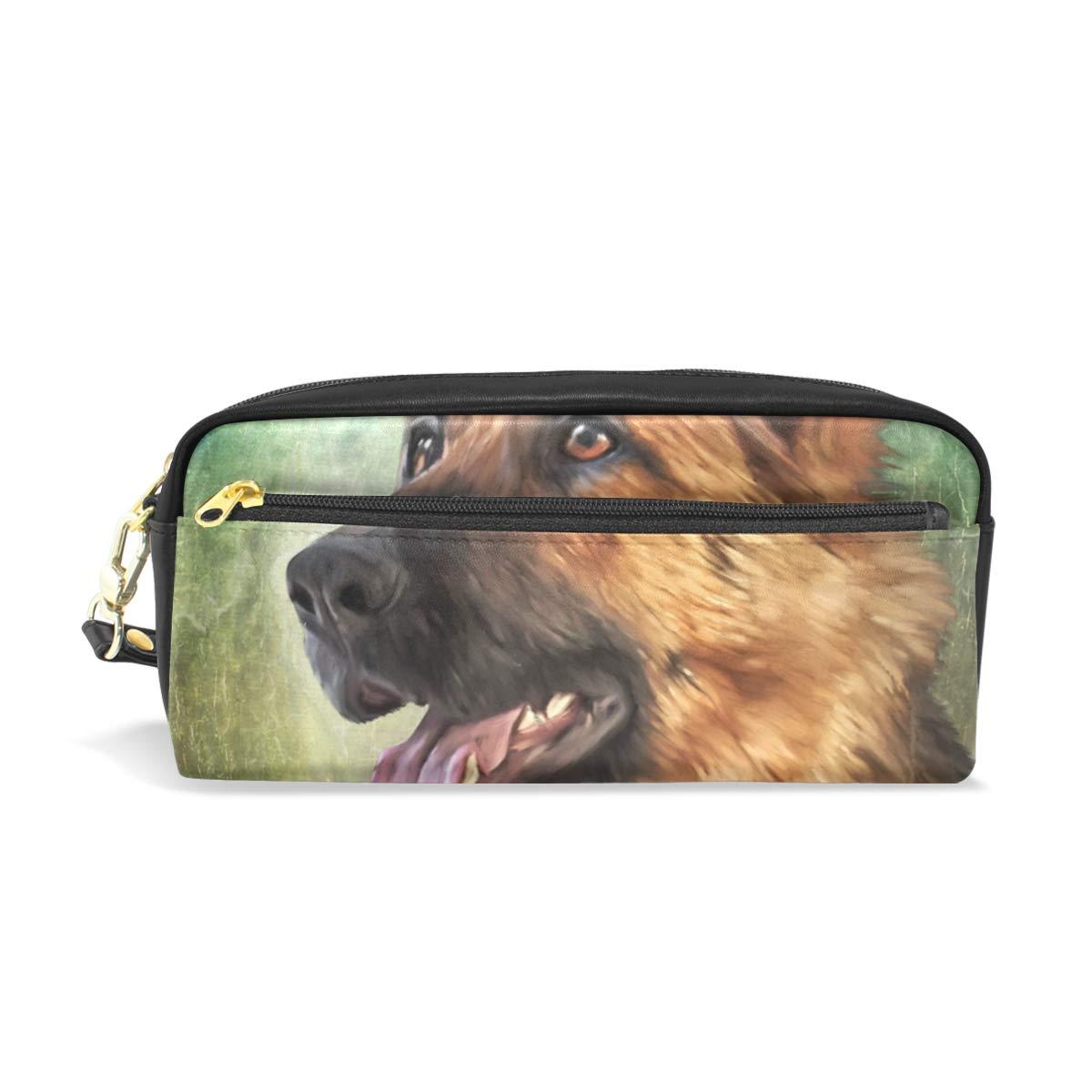 Estuche de lápices Titulares de gran capacidad Pastor alemán Perro encantador Animal Pluma Bolsa de bolsa de papelería con cremallera: Amazon.es: Oficina y papelería