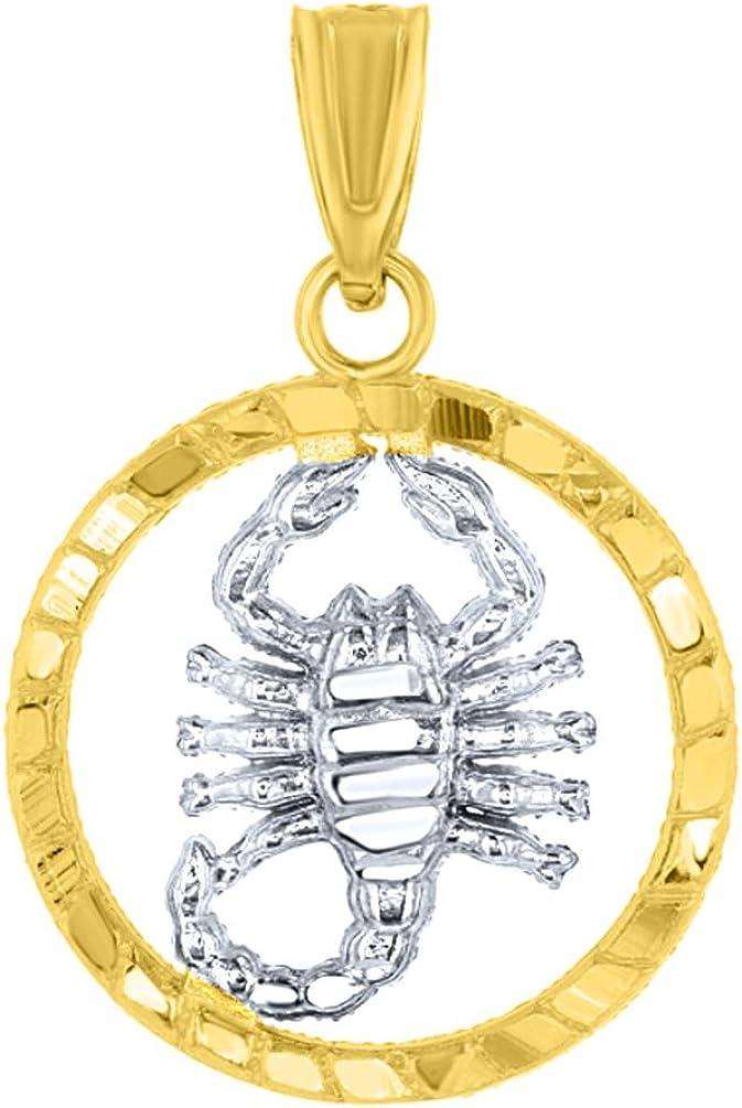 Textured 14k Yellow Gold Round Scorpion Charm Two Tone Scorpio Zodiac Pendant