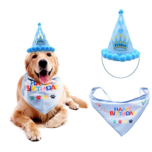 Dog Birthday Hat Pet Set Triangle Scarf Bandana Scarfs With Cute Doggie
