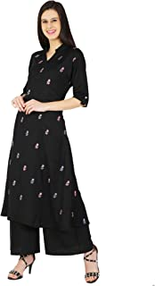 Jenee Ventures A Line Flower Butta Embroidered Rayon Cotton Long Kurti Palazzo Pant Set for Women (S-4XL)