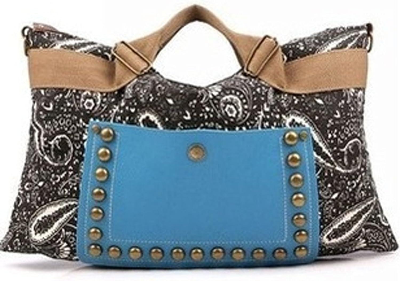 FTSUCQ Womens Canvas Printing Shoulder Handbags Casual Tote Messenger Bags Satchels