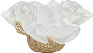 Sweet Fairy Brigadeiros Rose Luxury Flower Shells - Forminha de Brigadeiro - Brazilian Truffle Wrappers - Wedding Decoration (White and Gold)