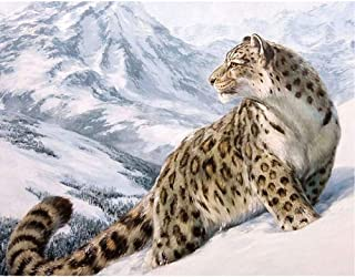 Moohue Needlework 14CT Counted Cross Stitch Kits Snow Mountain Leopard DMC Thread Wall Room Decor Handmade Gifts (Snow Mountain Leopard)