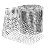 BLINGINBOX Diamond Sparkling Rhinestone Mesh Ribbon for Event Decorations, Wedding Cake, Birthdays, Baby Shower, Arts & Crafts, 4.75' x 10 Yards, 24 Row, 1 Roll (Silver)