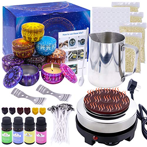 [with Melter] Candle Making Kit DIY Candle Starter Making Supplies for Adults Kids Complete with Wax Melter, Soy Wax, Wicks and More