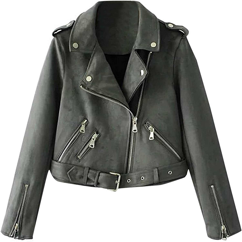 Ourfashion Women's Slim Fit Zipper Suede Jacket Motorcycle Biker Short Coat