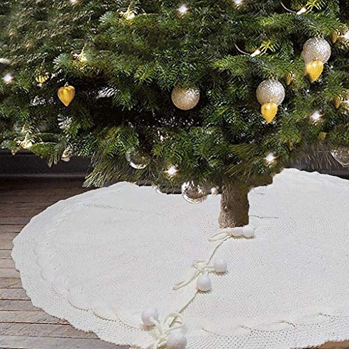 Chenso Baumrock, 122cm Weihnachtsbaumrock Stricken Bodenboden Matte Abdeckung Teppich Weihnachtsdekoration Neujahr Home Outdoor Decor