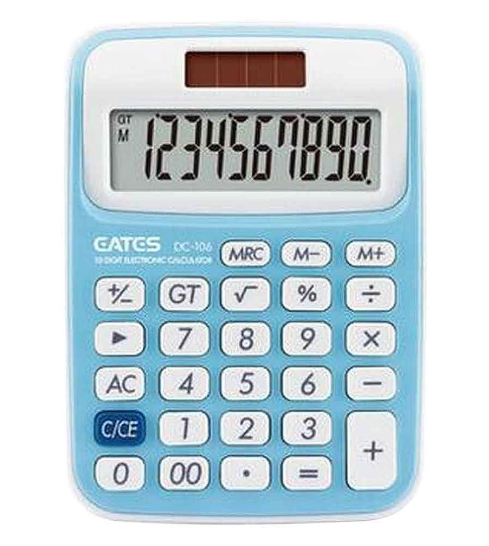 プレミアム友だちその結果10桁デュアル電源標準機能デスクトップ電卓[青]