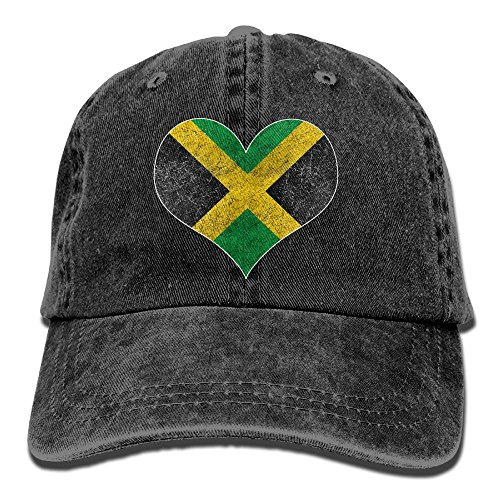 GOODCAP Distressed Jamaica Flag Jamaican Heart Classic Unisex Baseball Cap Adjustable Washed Dyed Cotton Ball Hat Black