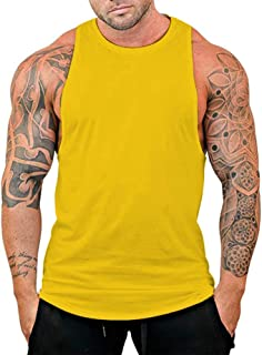 SquareAesthetics AU Men's Gym Bodybuilding Stringer Solid Color Blank Tank Top Vest