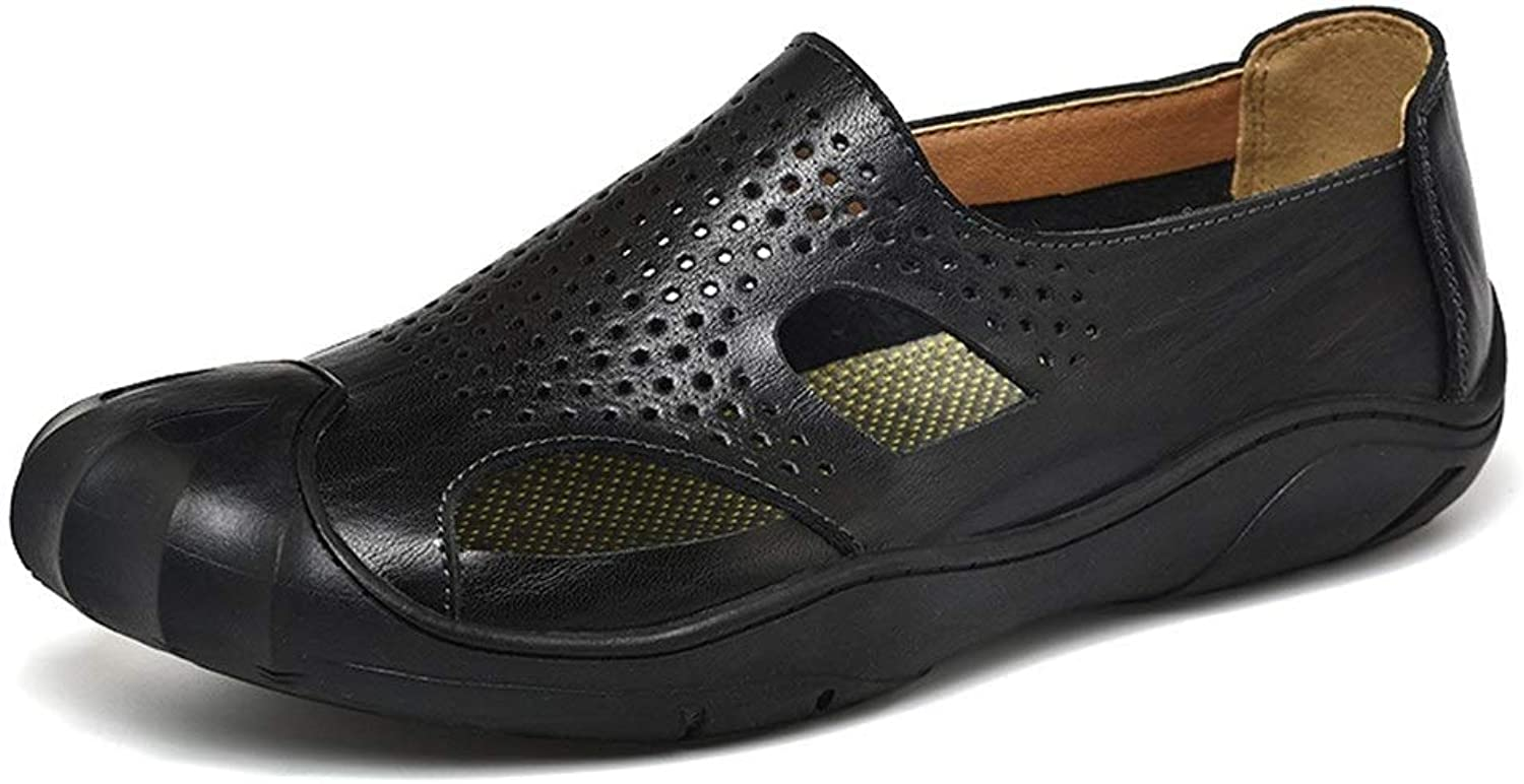 JIALUN-Sandals Comfortable Summer Outdoor Sandals for Men Genuine Leather Breathable Perforated Beach shoes Vegan Anti-Slip Flat Slip-on Collision Avoidance Round Close Toe