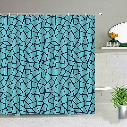 XCBN Geometrische Blume Duschvorhang Marmorierung abstrakte Streifen Badezimmer Display wasserdichte Stoff Badewanne Dekor hängende Gardinen A5 180x200cm