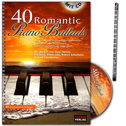 40 Romantic Piano Ballads - wunderschöne und romantische Melodien für Klavier oder Digitalpiano - Leicht bis mittelschwer arrangiert - Notenbuch mit Piano-Bleistift - HH1025 4026929918567