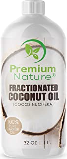 Fractionated Coconut Oil Massage Oil - Cold Pressed Pure MCT Oil for Essential Oils Mixing Dry Skin Moisturizer Natural Carrier Baby Oil for Face Hair & Body Therapeutic Aromatherapy Virgin Raw 32 oz