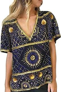 Plus Size Tops - Retro Style Boho T-Shirt Vintage Top for Women Damask Floral Print Tunic Bohemian Blouse