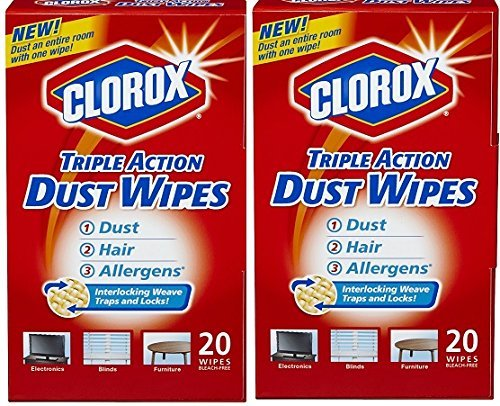 Clorox Triple Action Dust Wipes - 20 Count, Pack of 2