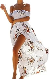 Shinekoo Womens Summer Off Shoulder Print Slit Maxi Long Bandeau Beach Dress
