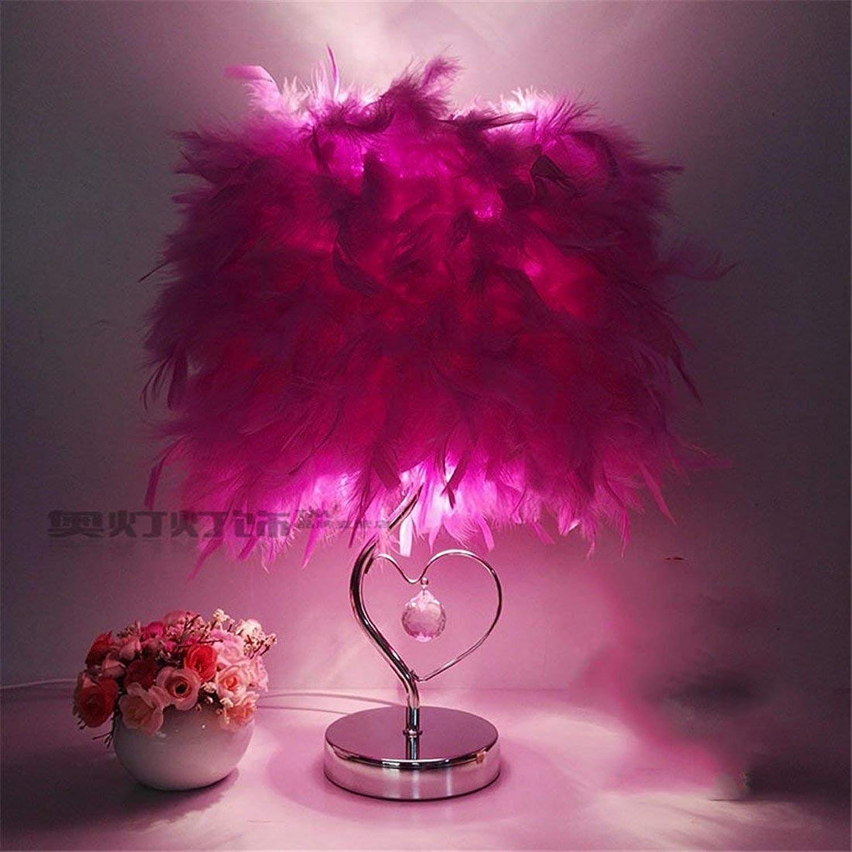 Envío y cambio gratis. WLM WLM WLM Lámpara de Mesa de la Personalidad nórdica, Luces Decorativas caseras Elegantes Lámpara de Cristal de la Pluma cálida, A30Cm luz púrpura  marca en liquidación de venta