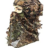 Ellen Archery Camouflage Hunting Cap, Camo Hunting Leafy Hat with Full 3D Face Mask Hood Technology