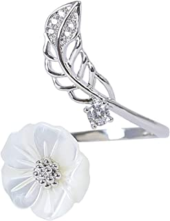 MOONSTONE Fashion Ring For Women Elegant Flower Mother Of Pearl Crystal, Adjustable Size, Silver Plated