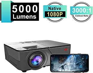 SeoJack 3rd Home Projector with 5000 Luxand 30,000 Hour Lamp Life,Video Projector FHD 1080P and Max.200`` Display Supported,Compatible with HDMI/VGA/AV/ USB for Home Theater for iPhone &Android
