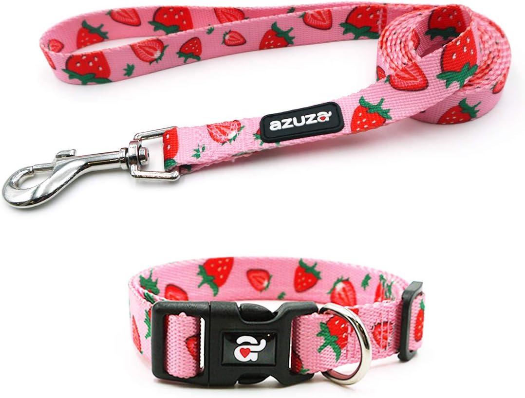 azuza Dog shopping Collar and Leash Patterns Cute Set Adjustable Fruit Manufacturer OFFicial shop
