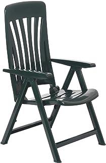 resol Blanes multifunción Plegable-posición Garden sillón - de plástico Verde - Unidades 2 sillas