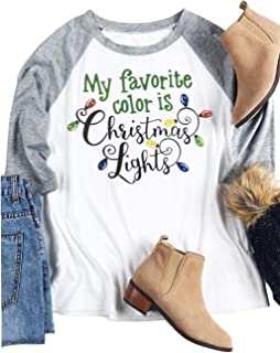 Women My Favorite Color is Christmas Lights Funny Color Lamp Graphic Tshirt Holiday Spirit Xmas Gift Blouse