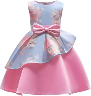 BestGift Children Wedding Party Kids Dresses for Girls Flower Girls Baby Girls Clothes Kids Christmas Party Dress Pink Color
