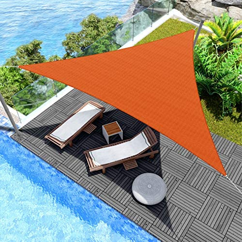 Windscreen4less 8 x 8 x 8 Triangle Sun Shade Sail Orange Durable UV Shelter Canopy for Patio product image