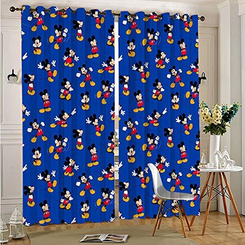 STTYE Cortinas opacas de Mickey Minnie Mouse para decoración del hogar, 117 x 138 cm x 2 unidades
