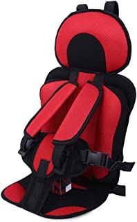 Breathable Adjustable Children Car Seat Cushion Comfortable Thickening Car Seat Protector Cover Cushion Pad Pillow Neck Support Cushion Pad and Seatbelt for Most Car, Truck, SUV (Red)