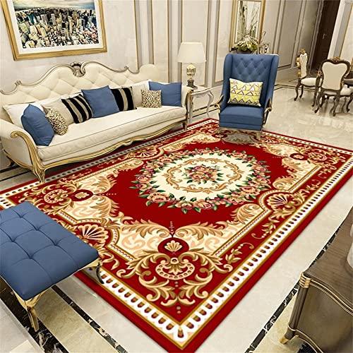 Alfombras Dormitorio Matrimonio Alfombra Juvenil Alfombra de salón roja de diseño clásico, insonorizada, Suave y Lavable. 160X230CM Alfombra Silla Gaming