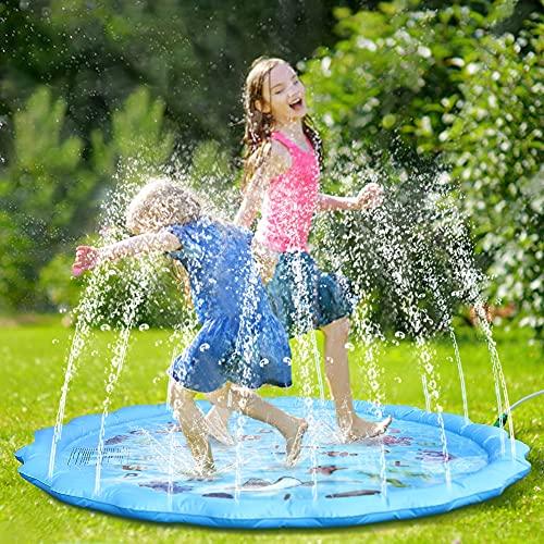 Fostoy Splash Pad, 170cm Alfombra de Agua Grande Almohadilla de Aspersor de Juego Acuáticos al Aire Libre para Niños Niñas Verano Jardín Playa Actividades
