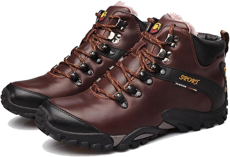 WDGT Herren Draussen Klettern Schuhe Schwacher Anstieg Wasserdicht und Rutschfest Leder Schnüren Warm halten Leicht Dauerhaft Stiefel zum Winter Laufen Reisen Trekking Wandern, UK 7.5   EU 41 Sport