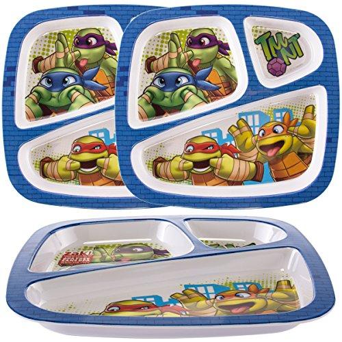 Zak (3 Pack) Teenage Mutant Ninja Turtles Plastic 3-Section Divided Kids Party Plates