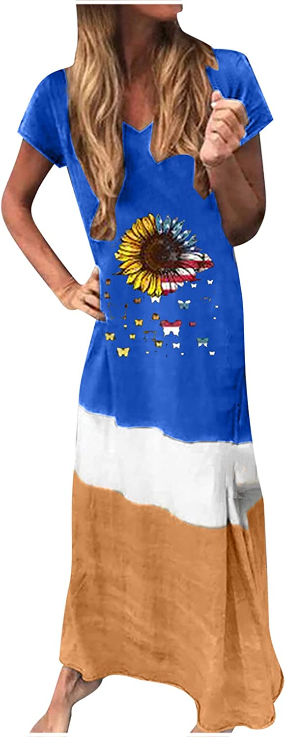 Sun Dresses Women Summer Women's Casual Loose Splicing Short Sleeve Printed O-Neck Ankle-Length Dress Casual Sexy Boho Blue