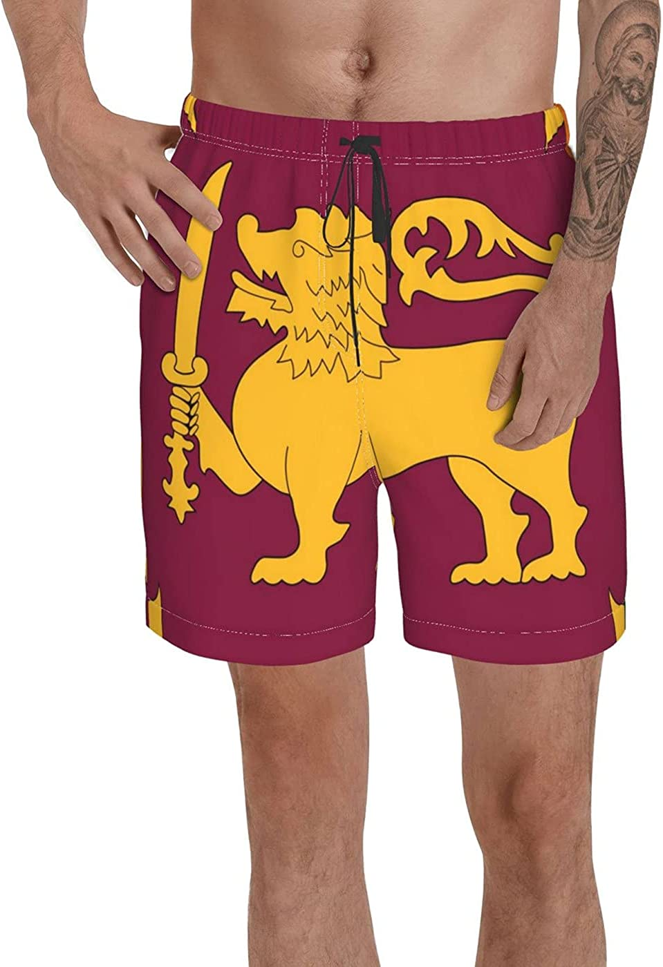 Count Sri Lanka Flag Men's 3D Printed Funny Summer Quick Dry Swim Short Board Shorts with