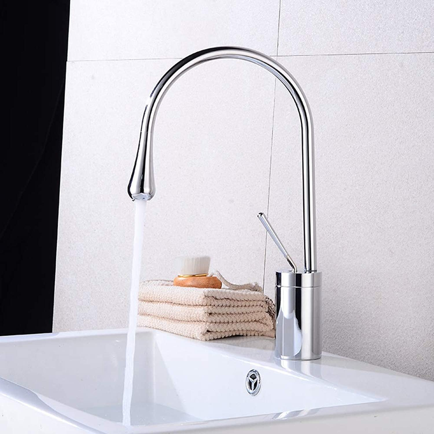 AXWT Nordic Simple Washbasin Faucet Hot And Cold Sink Faucet Heightening Creative Kitchen Water-tap European Style Basin Faucet Above Counter Basin Cold Heat Taps (Size   38cm)