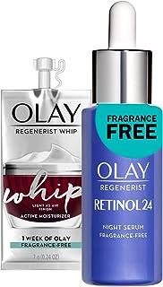 Olay Regenerist Retinol Face Serum, Retinol 24 Night Face Serum, 1.3oz + Whip Face Moisturizer Travel/Trial Gift Set