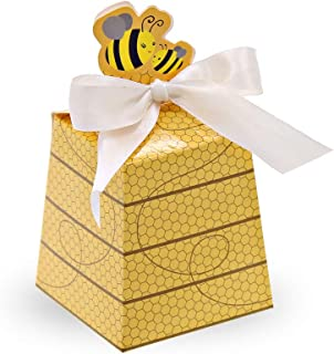 SumDirect 50Pcs Paper Beehive Gift Box with Ribbons Baby Favors Candy Boxes for Baby Shower Birthday Decorations (Yellow)