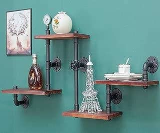 DOFURNILIM Industrial Rustic Wall Wood Pipe Ladder Floating Shelves - DIY Modern Storage Shelving Bookshelf for Bathroom Kitchen Office Home – Steampunk Wood Shelf Bookcase - 4 Tier