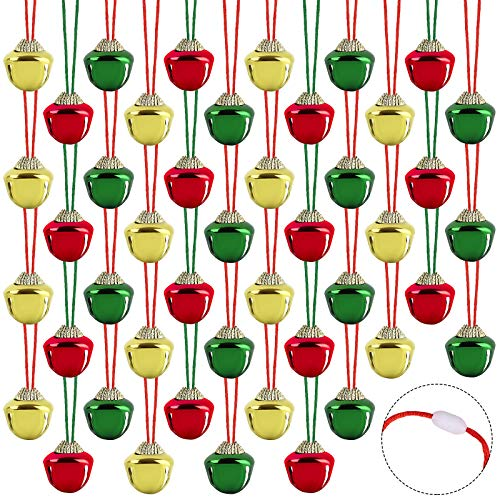 ADXCO 48 Pieces Christmas Jingle Bell Necklaces Bell Necklaces Toys with Connect Catch Rope for Craft Holiday Party Supplies
