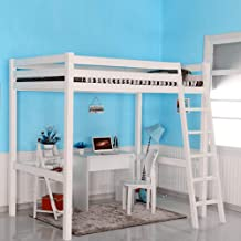 High Sleeper Cabin Bed with Ladder and Safety Guardrail, Space Saver Solid Pine Wood Kids Loft Bed Frame for Boys Girls Te...